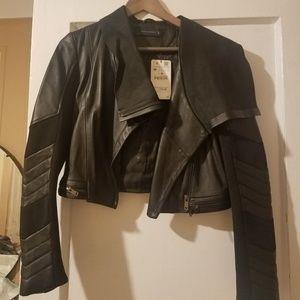 Zara Biker leather jacket.  New with tags size M